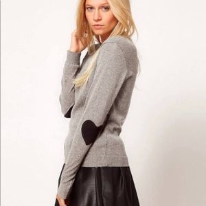 ASOS Gray Black Sweater elbow heart patch size 4